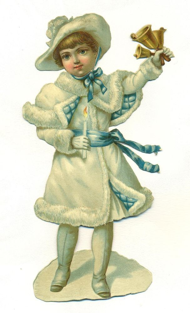 large victorian scrap snow baby with bells