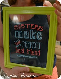 Naptime Decorator: Girls Craft Night #17: Framed Quotes with Glass Paint