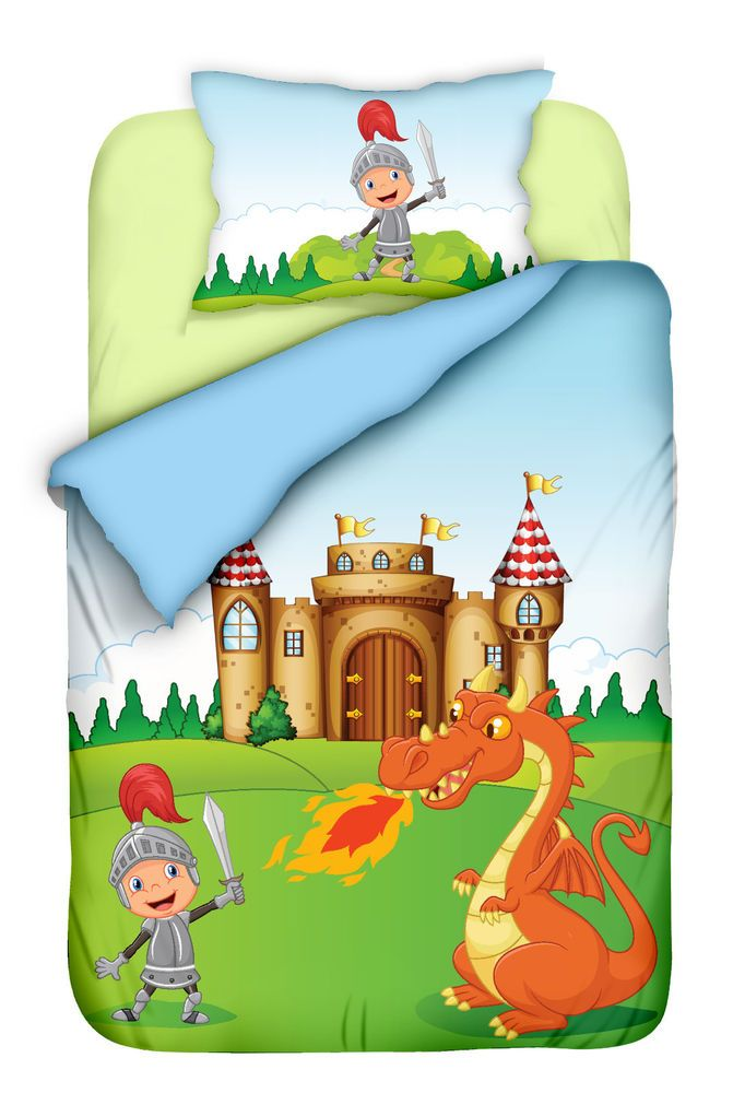 Bettwäsche 100x135 cm Baumwolle Kinder Ritter Burg Drache Jungen blau bunt
