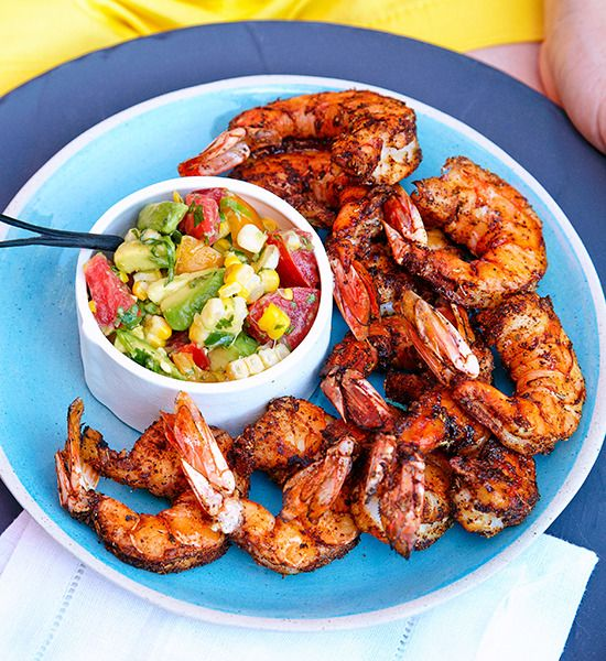 Barbecued prawns with avocado and sweet corn salsa