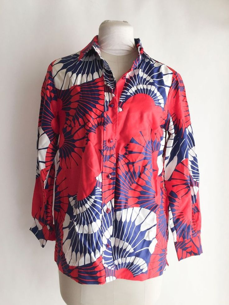 Vintage Red White Blue Blouse Asian Style Floral Fan Shirt 60s Penthouse Gallery #PenthouseGallery