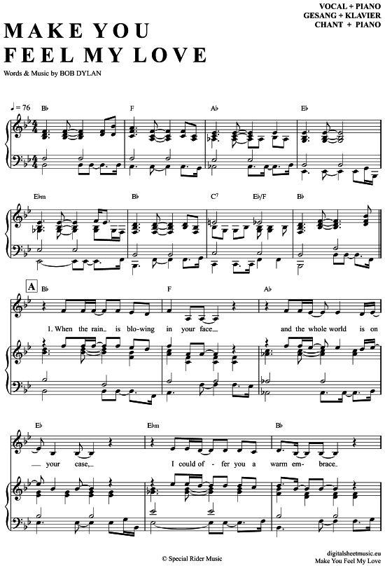 Make you feel my love (Klavier + Gesang) Adele [PDF Noten ...