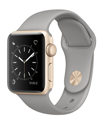 Apple Watch Series 2 38mm Gold-Tone Aluminum Case with Concrete Sport Band - Fashion Jewelry - Jewelry & Watches - Macy's