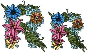 Exotic Flowers Font - Letter R
