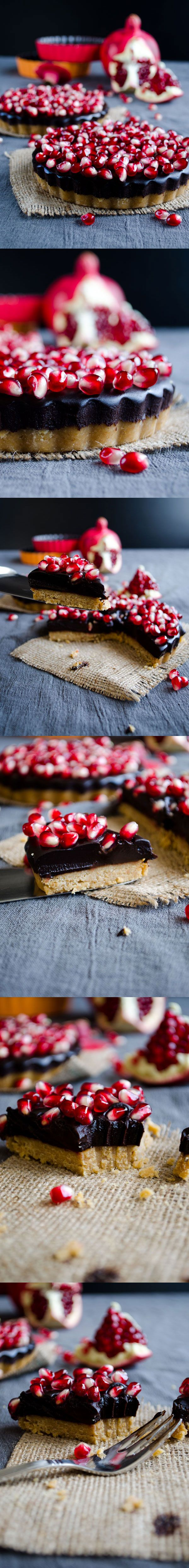 No-Bake Chocolate Pomegranate Tart. Make sure to use #glutenfree versions of all ingredients in order to convert to Celiac safe gfree.