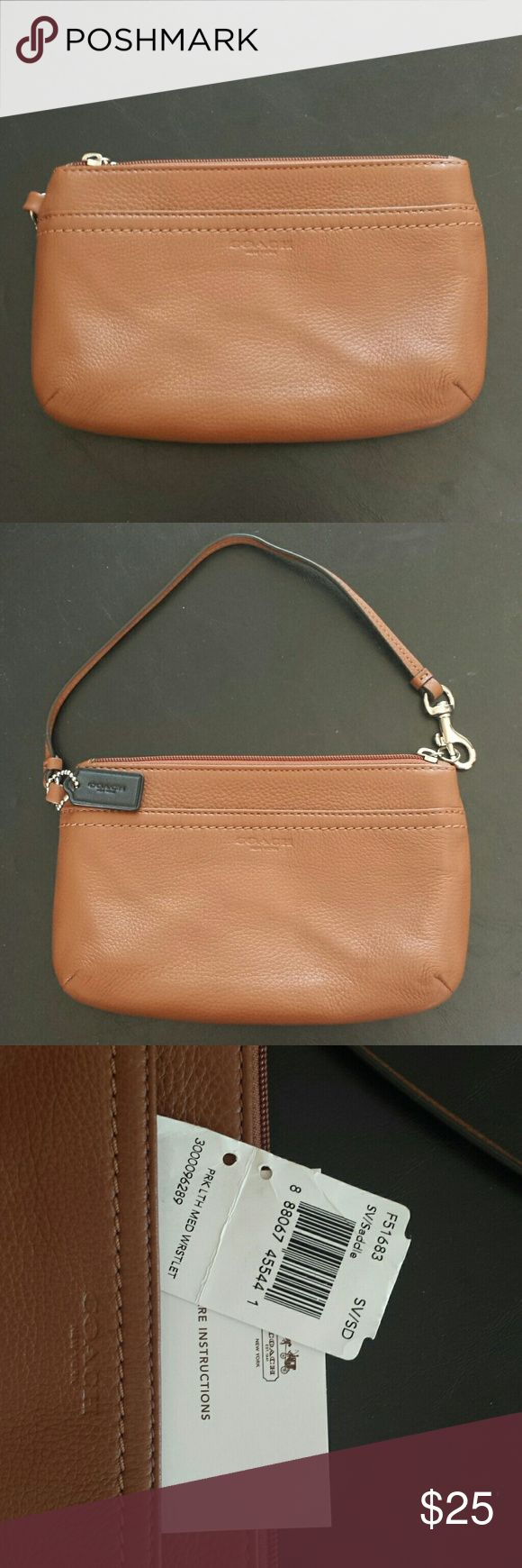 "Coach Wristlet~NWT Brand new with tags, Coach Park Leather medium wristlet.   This sweet purse measures approx. 7.5"" wide x 5"" tall.  Color is saddle. 100% authentic. Coach Bags Clutches & Wristlets"