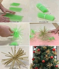 Making these b/c I was going to make them anyway for my tree   DIY Plastic Straw Ornaments