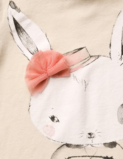 rabbit t-shirt with tulle applique - T-shirts - Baby girl (3-36 months) - Kids…