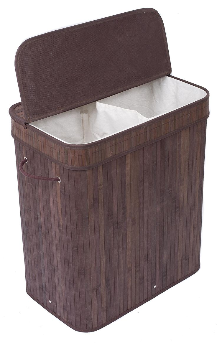 Amazon.com: BirdRock Home Double Laundry Hamper with Lid and Cloth Liner | Bamboo | Espresso | Easily Transport Laundry Basket | 2 Section Collapsible Hamper | String Handles: Home & Kitchen | @giftryapp