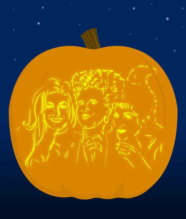 18. And The Sanderson Sisters - submitted by aparks3964 | 18 Insanely Clever Pop Culture Stencils To Up Your Pumpkin Carving Game