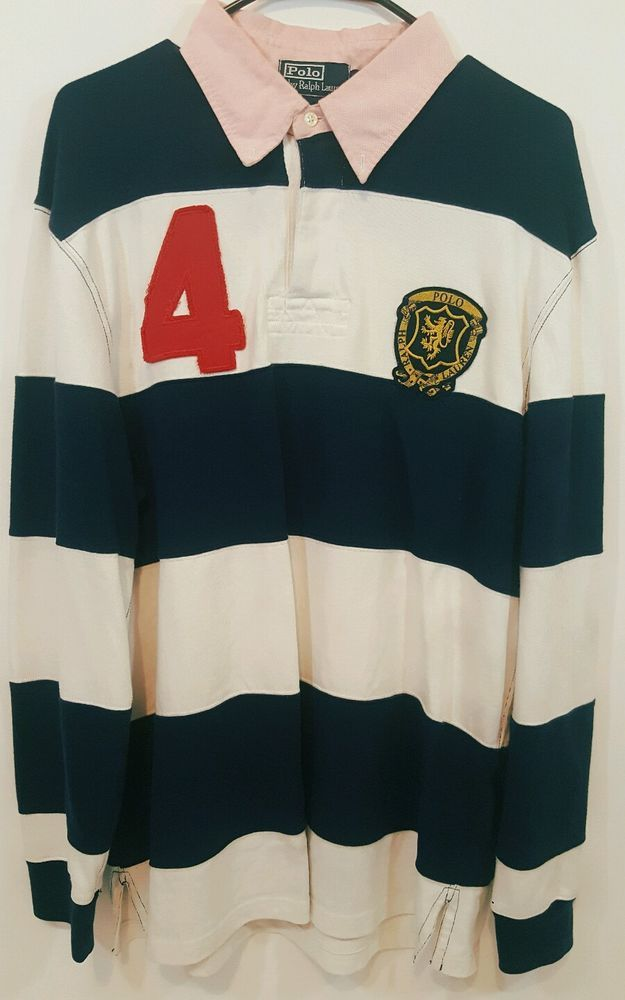 Polo Ralph Lauren Custom Fit Men S Rugby Shirt Xl Blue White Number 4 Vintage