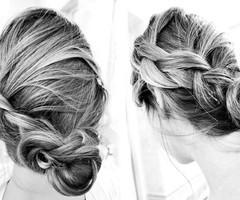 Love this for the wedding! but would leave ends loose and curled...pretty much exactly what i'm thinking.