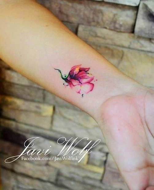Pink flower water color tattoo wrist