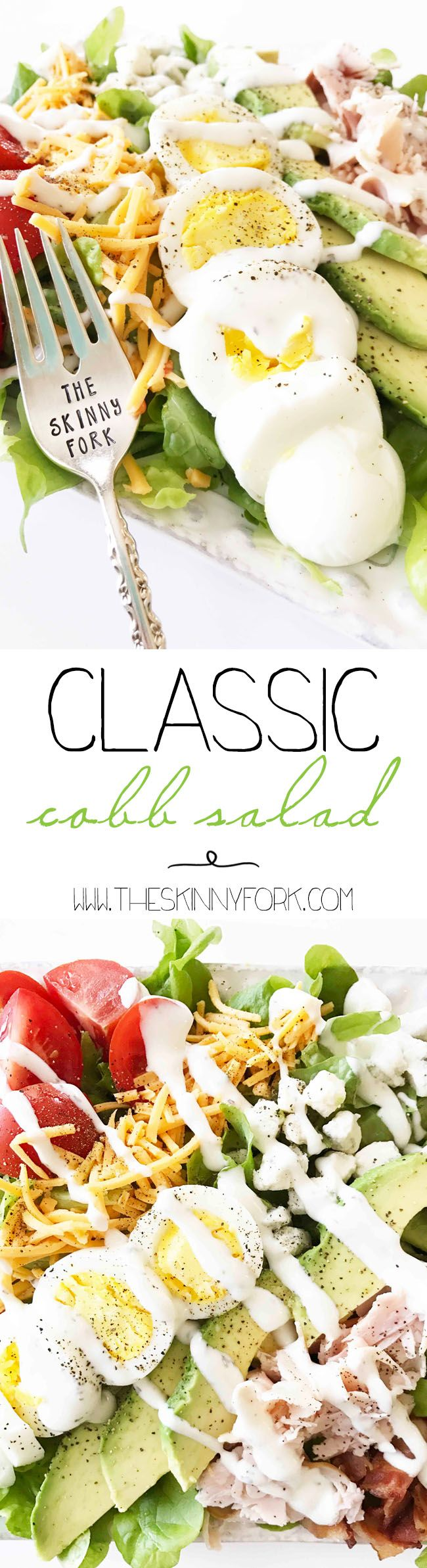 This is a lightened up version of the most classic of salads, the Cobb Salad! Don't worry though! It's still just as full of flavor with all of the traditional ingredients in a more wholesome fashion. TheSkinnyFork.com | Skinny & Healthy Recipes