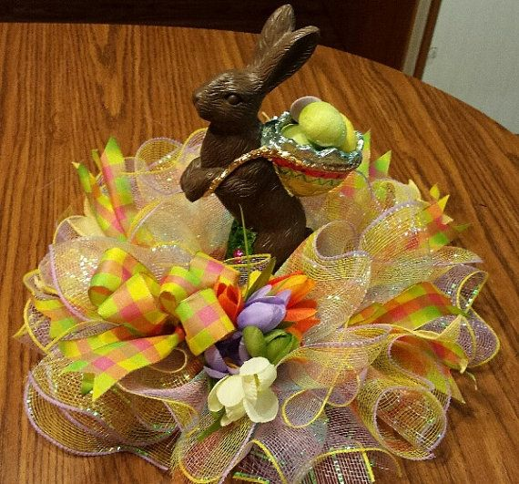 Easter deco mesh centerpiece 12 inch Free by NancysNowandForever