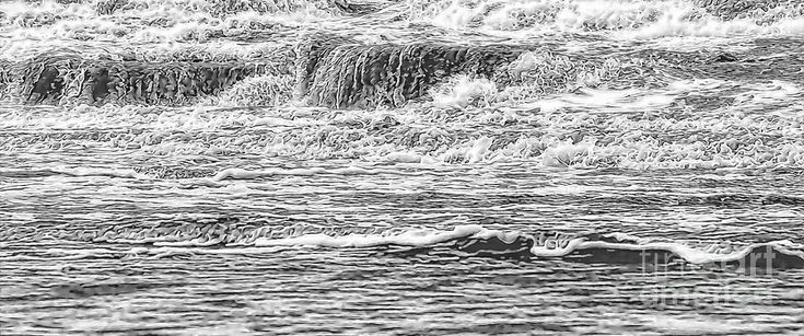 Sea Waves Abstract Photograph by Jan Brons. Breaking sea waves as abstract image. A Black and White small scribbled lines giving the impression of a beach scene with wave crests.