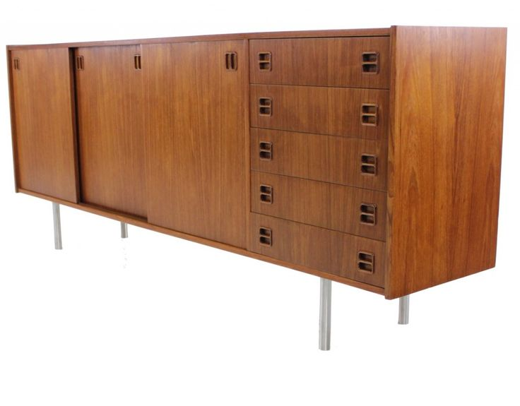 For Sale On   Danish Modern Credenza. Rich Teak Contrasts With Brushed  Steel Legs. Five Drawers On Right, Adjustable Shelves In Middle And Left.