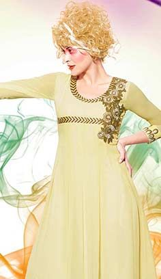 Indian Fashionable Cream Georgette Kurti Best For Online Shopping