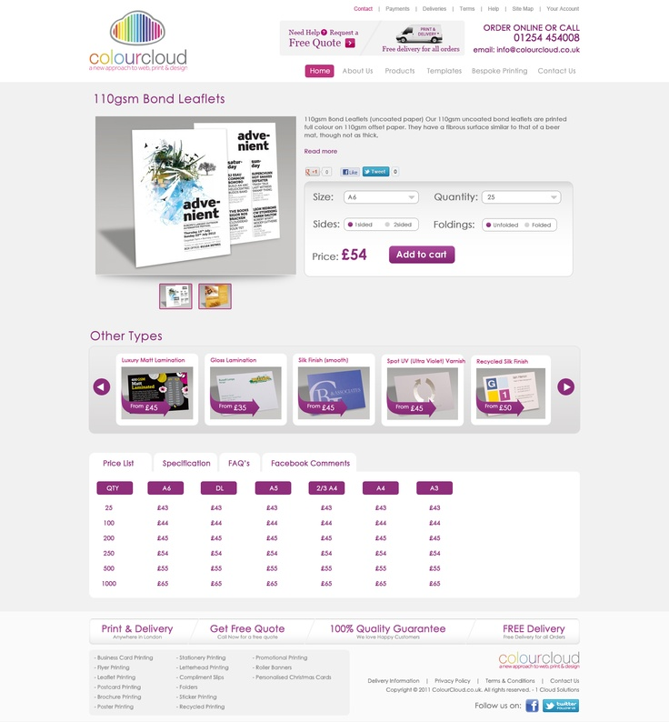 Web site designed for a Printing Company in UK