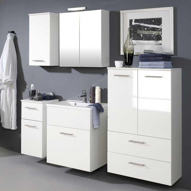 Badezimmer Komplett In Weiß Hochglanz Mit Waschbecken (5 Teilig) Jetzt  Bestellen Unter: