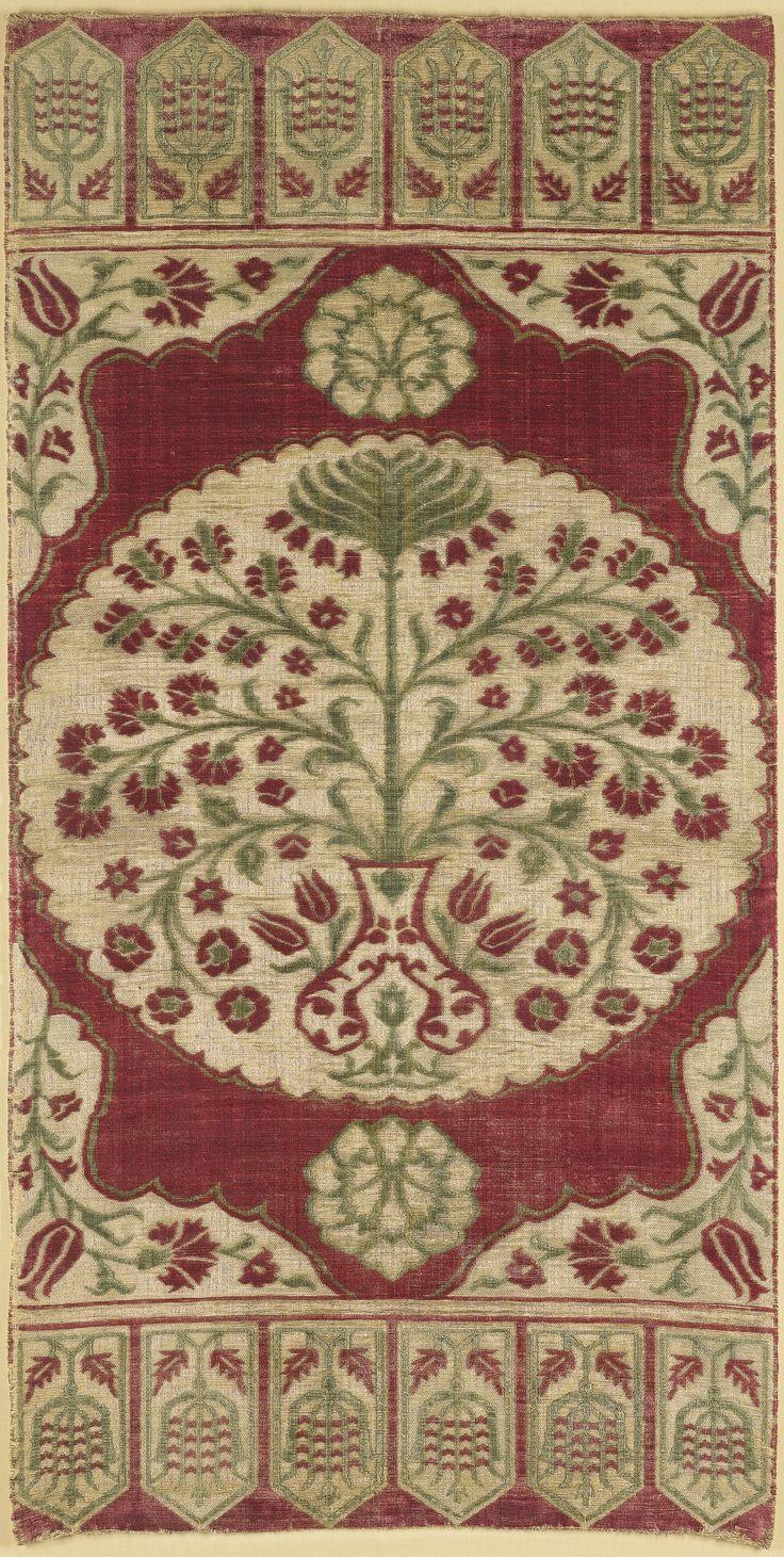 A large Ottoman red ground velvet panel, Turkey, 17th Century