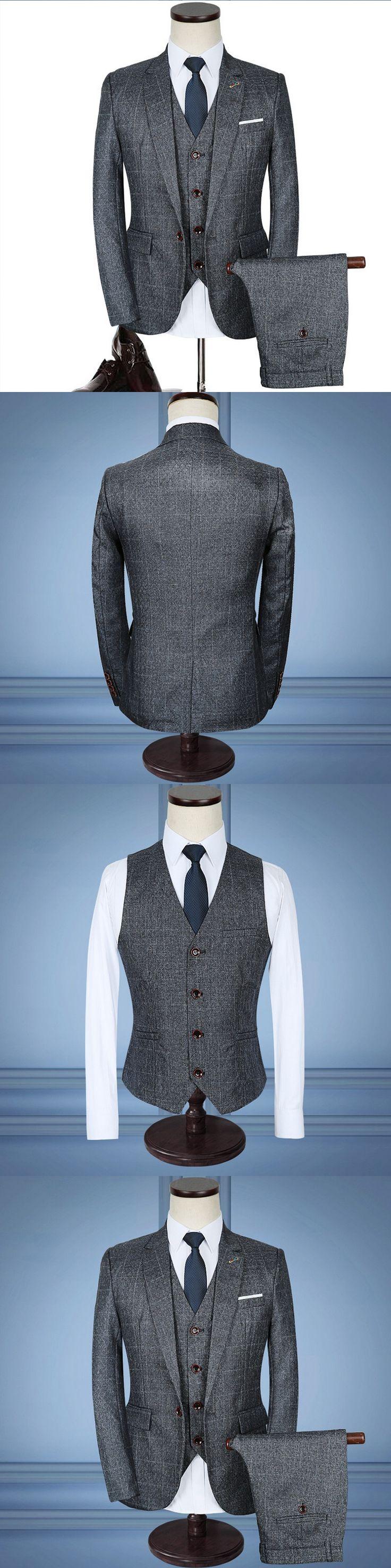 Luxury Mens Grey Suits 3 pieces Jacket+Pants+Vest Formal Dress chinese size Men Suit Set men wedding suits plaid groom tuxedos