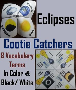 These eclipses cootie catchers are a great way for students to have fun while learning about the different types of eclipses. These cootie catchers contain the following vocabulary words on eclipses: Solar eclipse, Total solar eclipse, Partial solar eclipse, Umbra, Penumbra, Total lunar eclipse, Partial lunar eclipse, Penumbral lunar eclipse