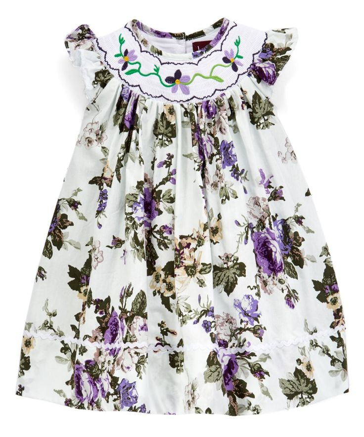 Take a look at this Lavender Floral Smocked Bishop Dress - Infant, Toddler & Girls today!