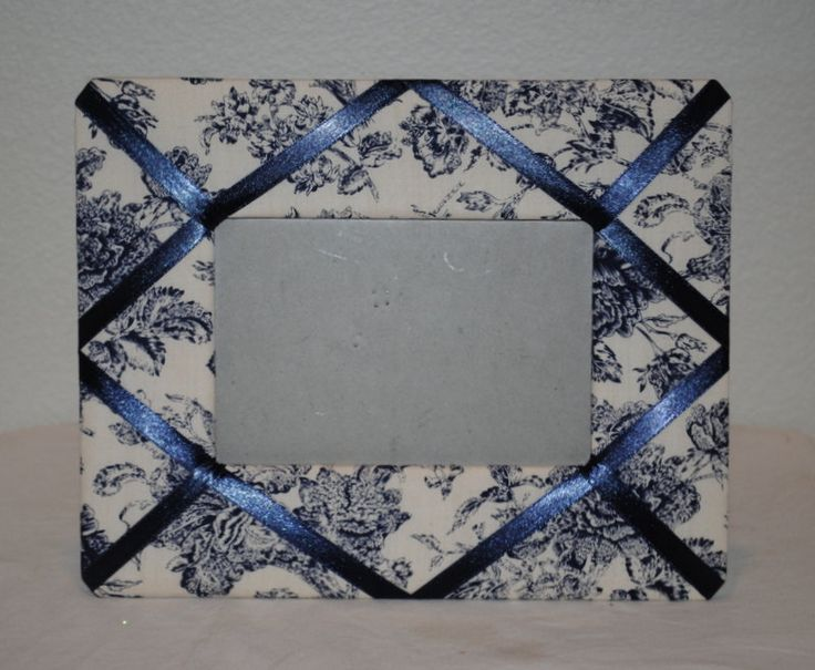 """Vintage Fabric Photo Frame, Fabric Covered Frame, Blue Toile Padded Fabric Frame with Blue Ribbon, 8x10"""" Frame, 6x4"""" Photo by TheBouncingFrogs on Etsy"""