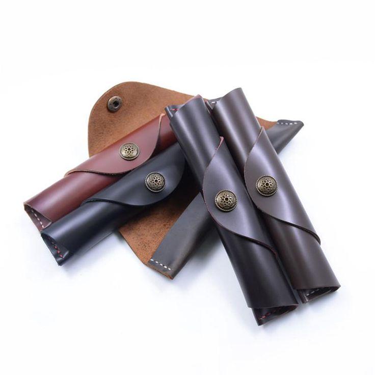 2021 genuine leather school pencil case diy cute roll