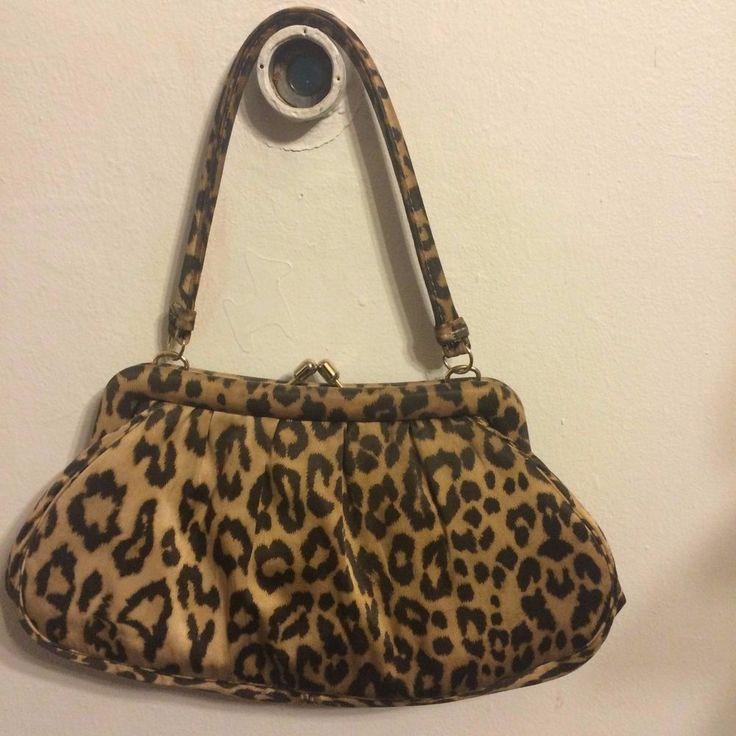 Vintage Banana Republic Brown Leopard Satin Handbag Purse #BananaRepublic #Purse