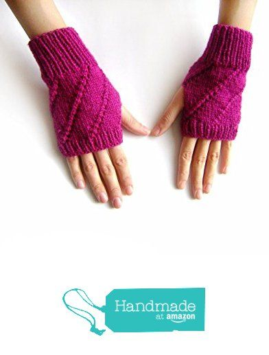 Hand Knit Fingerless Gloves in Magenta - Arm Warmers - Womens Seamless Knit…