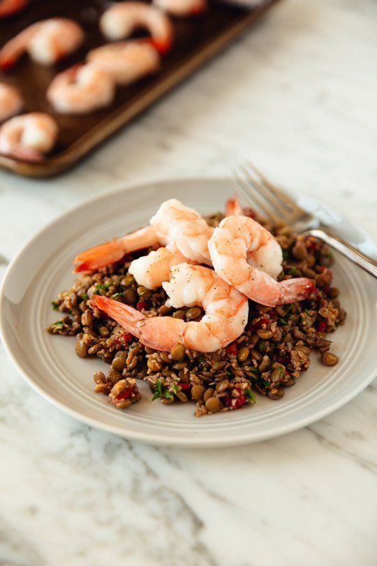 Recipe: Warm Bulgur and Lentil Salad with Roasted Shrimp