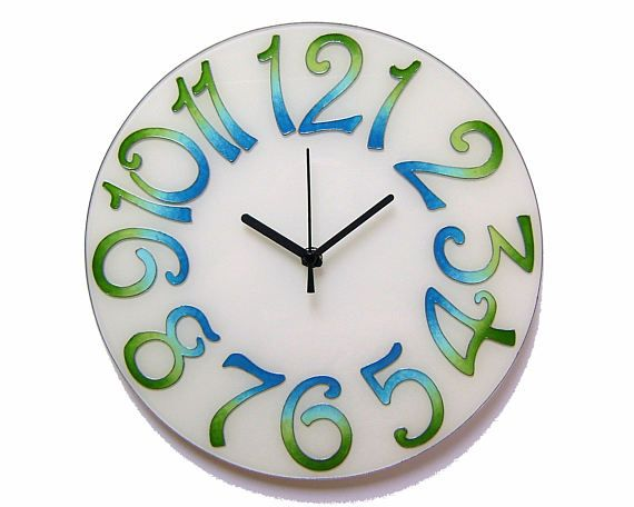 Big Numbers Large Blue and Green Silent Wall Clock, Colorful , Hand-painted, Glass wall clock, Elegant Office Clock