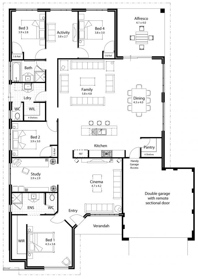 Dream House Plan: Separate wings for bedrooms, Separate living area for kids, Open plan kitchen, living and dining, Island kitchen, Swap Bed 1 and Cinema, Cinema = Studio (Walled off), 4 car garage = Gym, Alfresco to extend length of dining room, Large laundry with Linen Closet