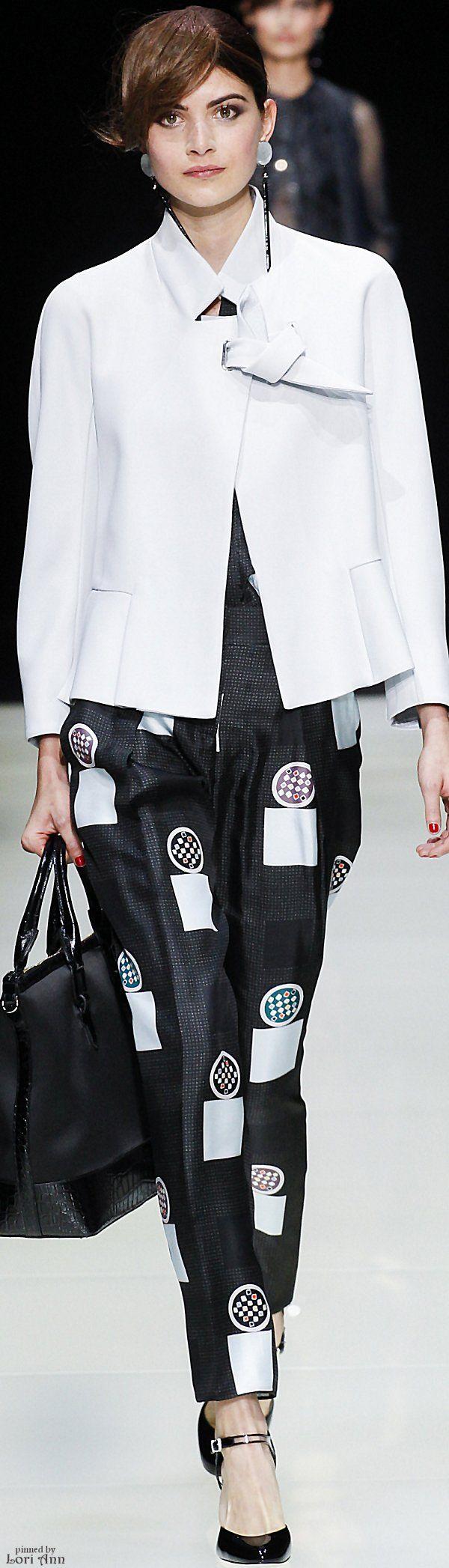 Giorgio Armani ~ Spring White Cropped Jacket with Black + White Print Trousers, 2016