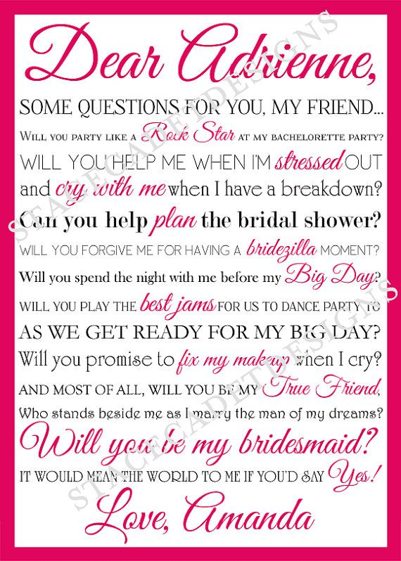 Similiar Funny Poems To Ask Bridesmaids Keywords