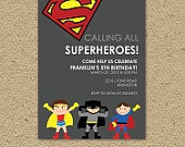 Custom super hero birthday party invitation - superman or batman