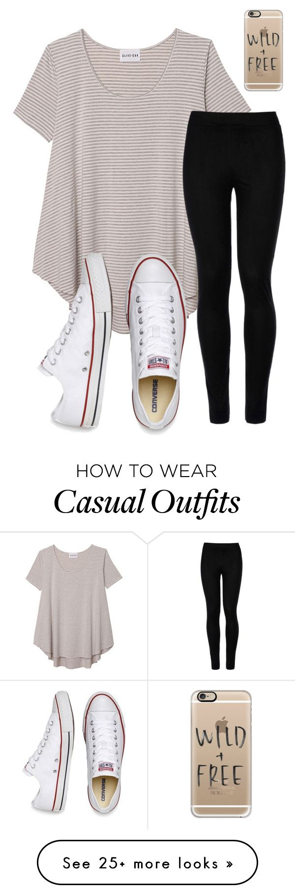 """Casual"" by emi-elephant on Polyvore featuring Olive + Oak, Wolford, Converse and Casetify"