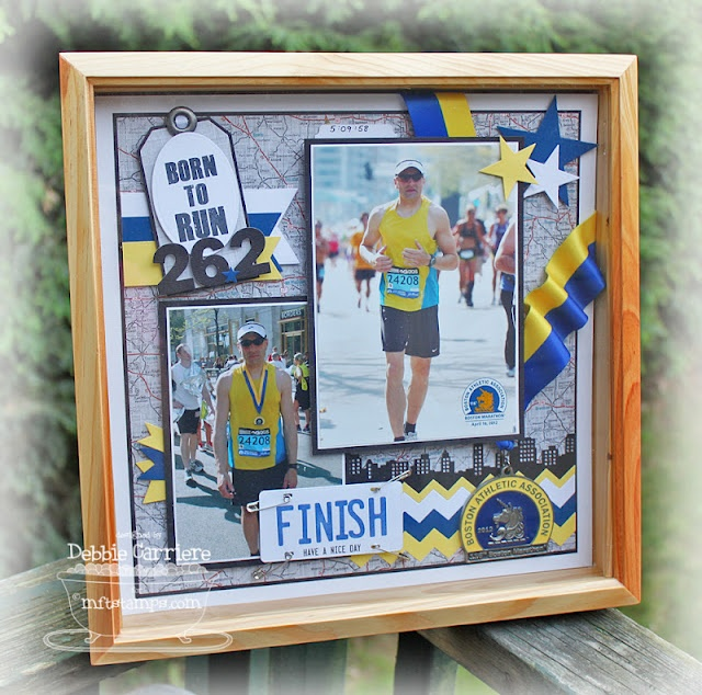"""Boston Marathon Shadow Box - MFT Style by Debbie Carriere - I created a framed scrapbook layout for my project today.  My husband ran his first marathon this year, and I wanted to commemorate it with a special gift for Father's Day.  I created a 12""""x12"""" scrapbook page and put it in a shadow box.  I was able to include the fabulous medal he received for finishing.  Here it is."""
