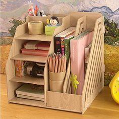 Moderne de couleur pleine en bois étagère de bureau - 2 couleurs Avaliable