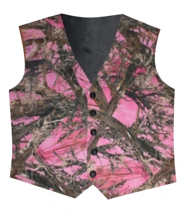 This men's pink camo vest is perfect for any camo wedding, or country wedding.  Only $59.95.  Made from True Timber satin camo with your choice of lining and back color.  Comes in a variety of sizes, other colors of camo also available.