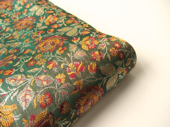 Green red orange flowers Benares silk brocade from by SilksByUmf, $9.50