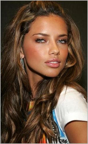 Brown hair with warm caramel highlights