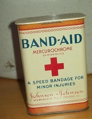 $61 Old Advertising Medicine - First Aid Tin Band-Aid - Mercurochrome - 'A Speed Bandage For Minor Injuries' Manufactured by Johnson & Johnson - New Brunswick New Jersey and Chicago Illinois. New Old Sto
