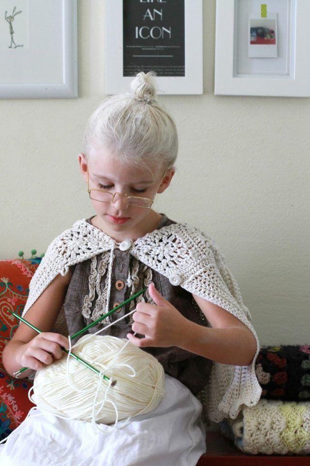 child in granny costume
