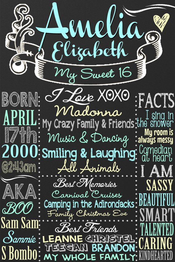 Sweet 16 Birthday Board Poster Custom for by CustomPrintablesNY