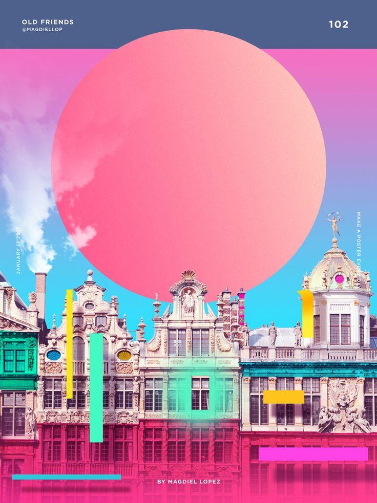 건물사진 위에 얹어진 그래픽. 그림자가 신의 한수. 색이 굉장히 다양한 편인데 핑크로 메인을 잡고가니 난잡하다는 느낌이 없음.