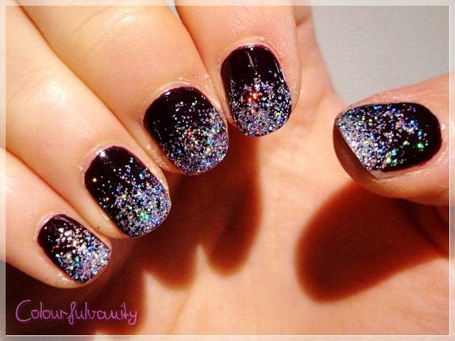 """Spring rain"" glitter gradient manicure"