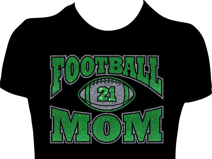 17 best images about custom football mom glitter tees for High school football shirts